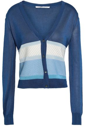 AGNONA Paneled stretch-knit cardigan