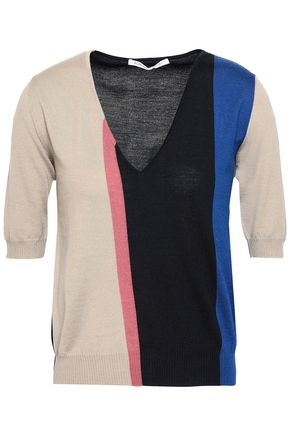 AGNONA Color-block wool, cashmere and silk-blend top