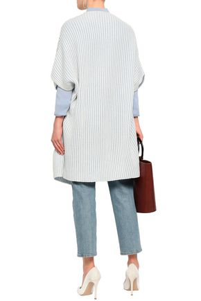 AGNONA Belted striped ribbed cashmere cardigan
