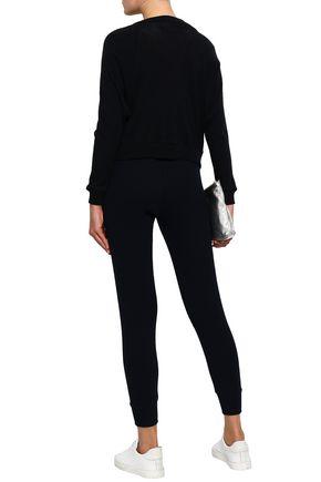 ENZA COSTA Satin-paneled cotton and cashmere-blend bomber jacket