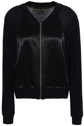 ENZA COSTA Satin-paneled cotton and cashmere-blend bomber jacket