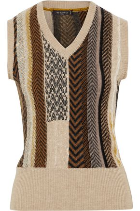 ETRO Intarsia wool and silk-blend vest