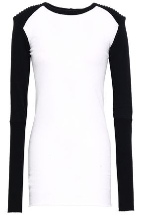 ENZA COSTA Two-tone cotton and cashmere-blend top