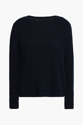 ENZA COSTA Waffle-knit cotton and cashmere-blend top
