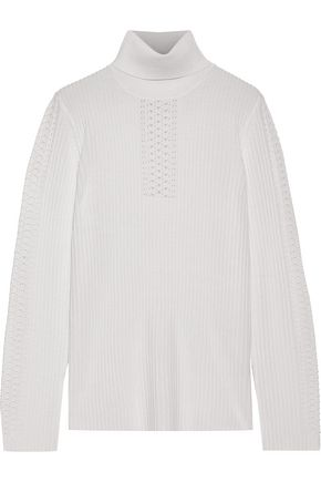 ELIE TAHARI Maelee ribbed merino wool turtleneck sweater