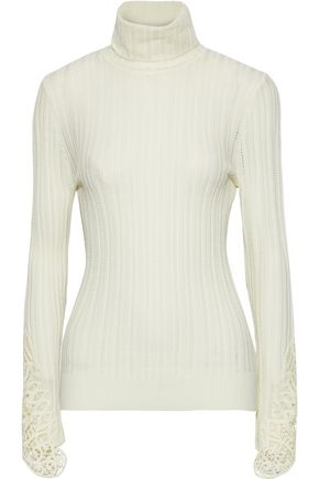 ELIE TAHARI Pointelle-knit merino wool turtleneck sweater