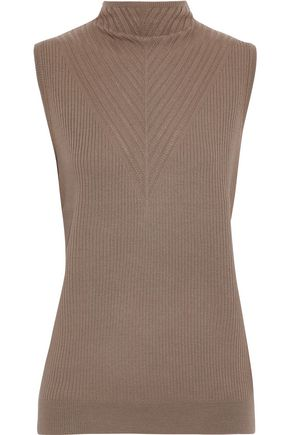 ELIE TAHARI Palomino ribbed and pointelle-knit merino wool sweater