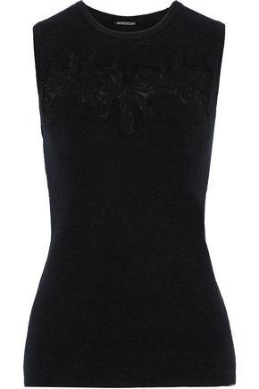 ELIE TAHARI Broderie anglaise-paneled merino wool top
