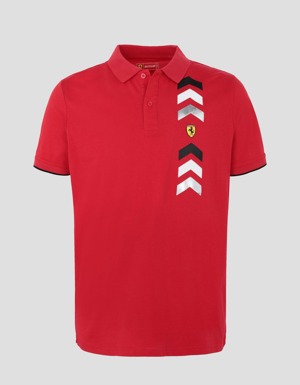 Scuderia Ferrari Online Store - Men's jersey polo shirt with arrow print - Short Sleeve Polos
