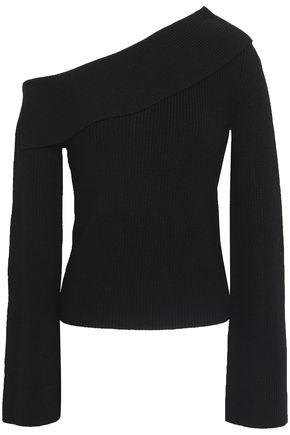 THEORY One-shoulder ribbed-knit sweater