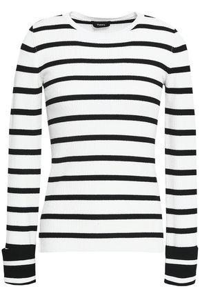 THEORY ストライプ リブ編みニット セーター