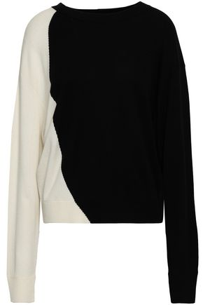 THEORY Two-tone intarsia-knit silk-blend sweater