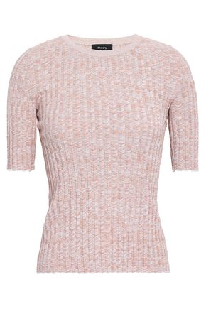 THEORY Marled ribbed-knit cotton-blend top