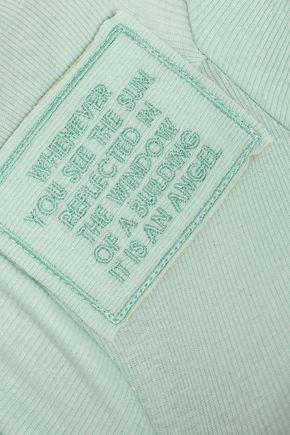 EACH X OTHER Appliquéd ribbed cotton-blend turtleneck top