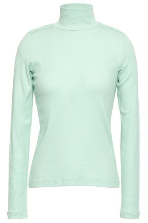 EACH X OTHER Appliquéd ribbed cotton-blend turtleneck top
