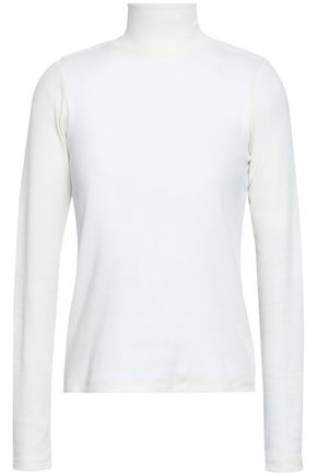 EACH X OTHER Appliquéd cotton-blend jersey turtleneck top