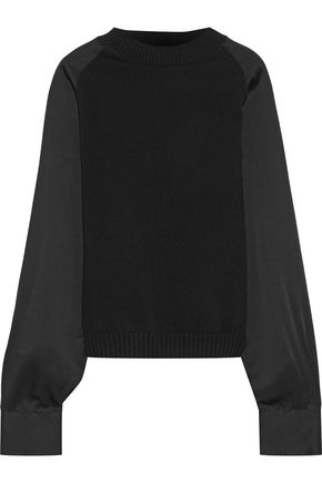 HAIDER ACKERMANN Satin-paneled wool and cashmere-blend sweater