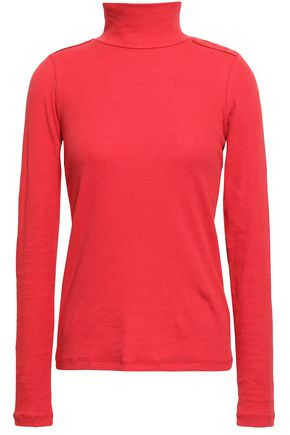 EACH X OTHER Appliquéd ribbed stretch-cotton turtleneck top