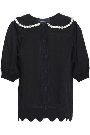 SIMONE ROCHA Faux pearl and crystal-embellished pointelle-knit cardigan