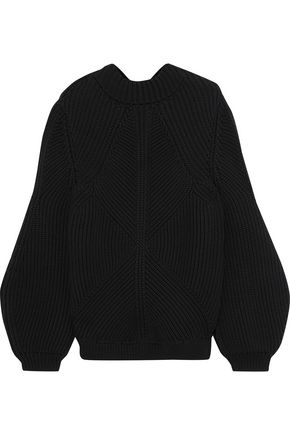 VICTORIA BECKHAM Open-back ribbed cotton-blend sweater