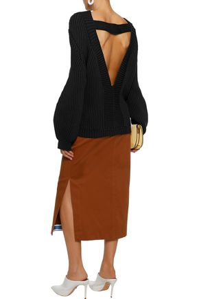 VICTORIA BECKHAM Open-back ribbed cotton-blend sweater