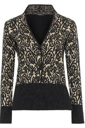 ETRO Paneled metallic wool-blend jacquard cardigan