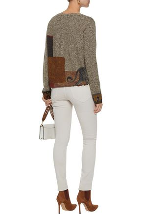 ETRO Printed marled wool and cashmere-blend sweater