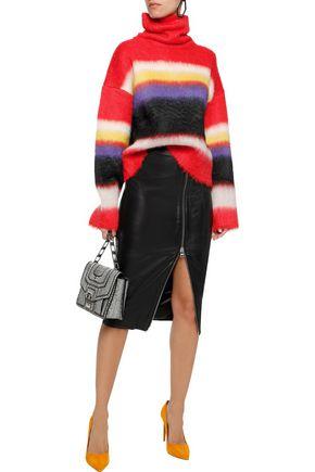 DIANE VON FURSTENBERG Striped brushed knitted turtleneck sweater