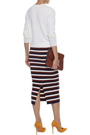 VICTORIA BECKHAM Striped stretch-wool midi skirt