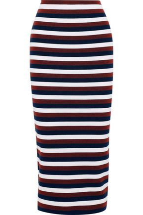 VICTORIA BECKHAM Striped stretch-wool midi skirt