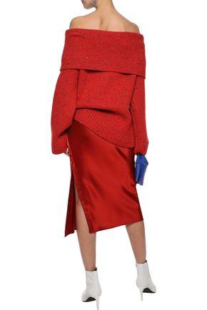 DIANE VON FURSTENBERG Oversized off-the-shoulder donegal wool-blend sweater