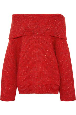 DIANE VON FURSTENBERG Oversized off-the-shoulder donegal wool-blend sweater