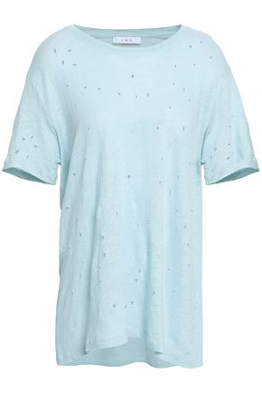 IRO Distressed slub-jersey linen T-shirt