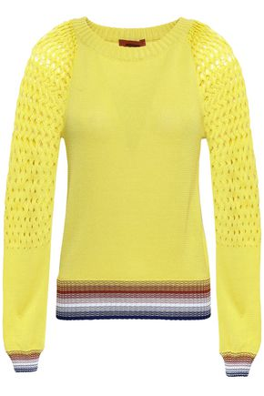 MISSONI Crochet and open knit-paneled cotton sweater