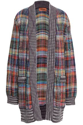 MISSONI Crystal-embellished checked cotton-blend cardigan