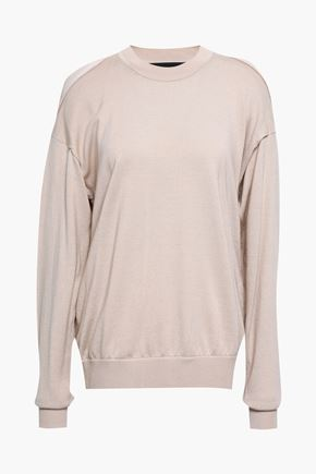 ALEXANDER WANG Layered paneled merino wool sweater