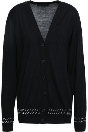 ALEXANDER WANG Embellished merino wool and silk-blend cardigan
