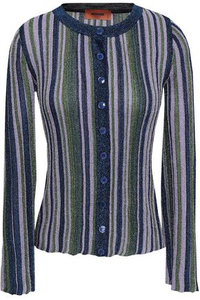 MISSONI Striped metallic ribbed-knit cardigan