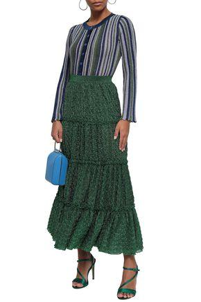 MISSONI Striped metallic ribbed-knit cardigan