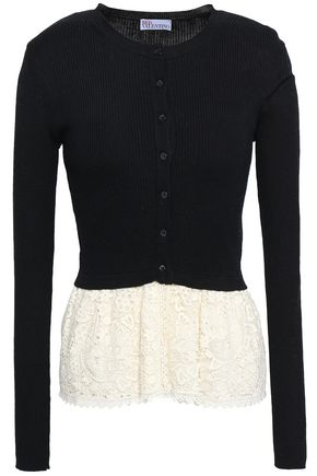 REDValentino Layered lace and ribbed-knit cardigan