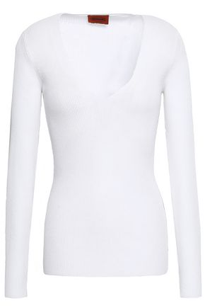 Missoni Woman Ribbed Cotton Top White Size 42