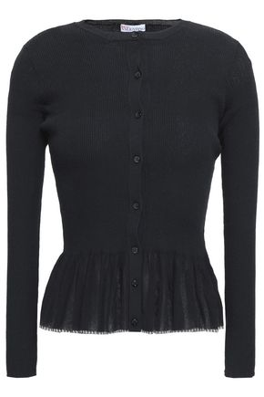 REDValentino Paneled ribbed cotton-blend peplum cardigan