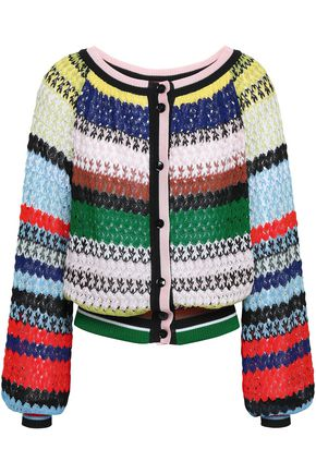 MISSONI Striped crochet-knit cardigan