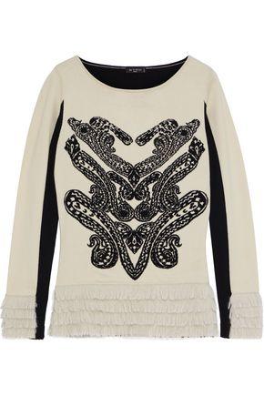 ETRO Paneled fringe-trimmed intarsia-knit sweater