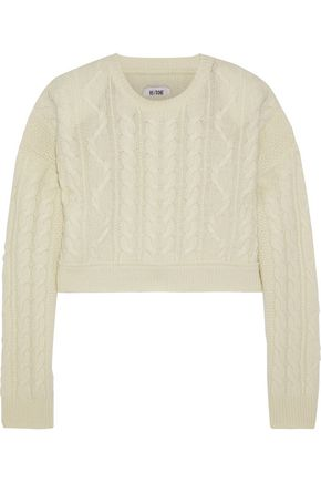 RE/DONE Cropped cable-knit wool and cashmere-blend sweater