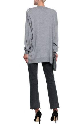 IRO Distressed wool and silk-blend cardigan