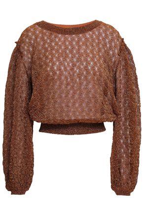 MISSONI Ruffle-trimmed metallic crochet-knit sweater