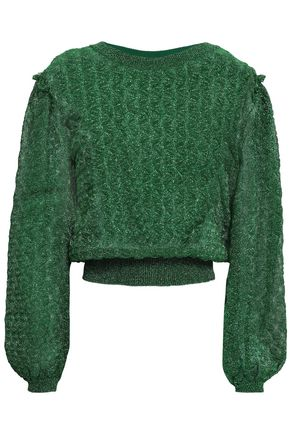 MISSONI Ruffle-trimmed metallic crochet-knit sweater