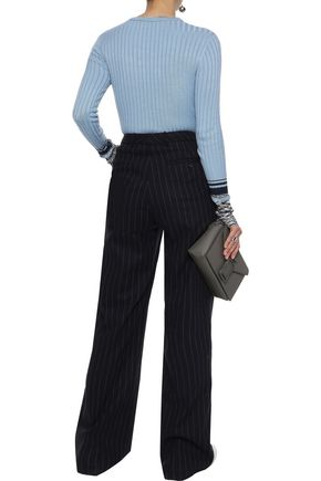 VICTORIA, VICTORIA BECKHAM Intarsia and ribbed-knit sweater