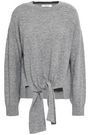 FRAME Tie-front mélange wool and cashmere-blend sweater